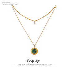 Yhpup Exquisite Round Natural Stone Layered Pendant Necklace High Quality Stainless Steel Collane Donna Statement Jewelry 2021