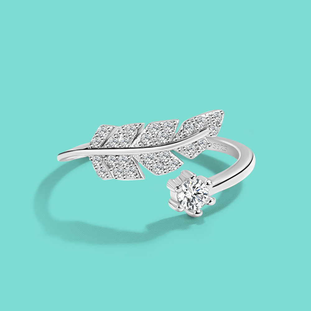 New Women's 100% 925 Silver Ring Chic Feather Design Open Ring Original Silver Cocktail Party Ring Fine Jewelry Free Adjustment