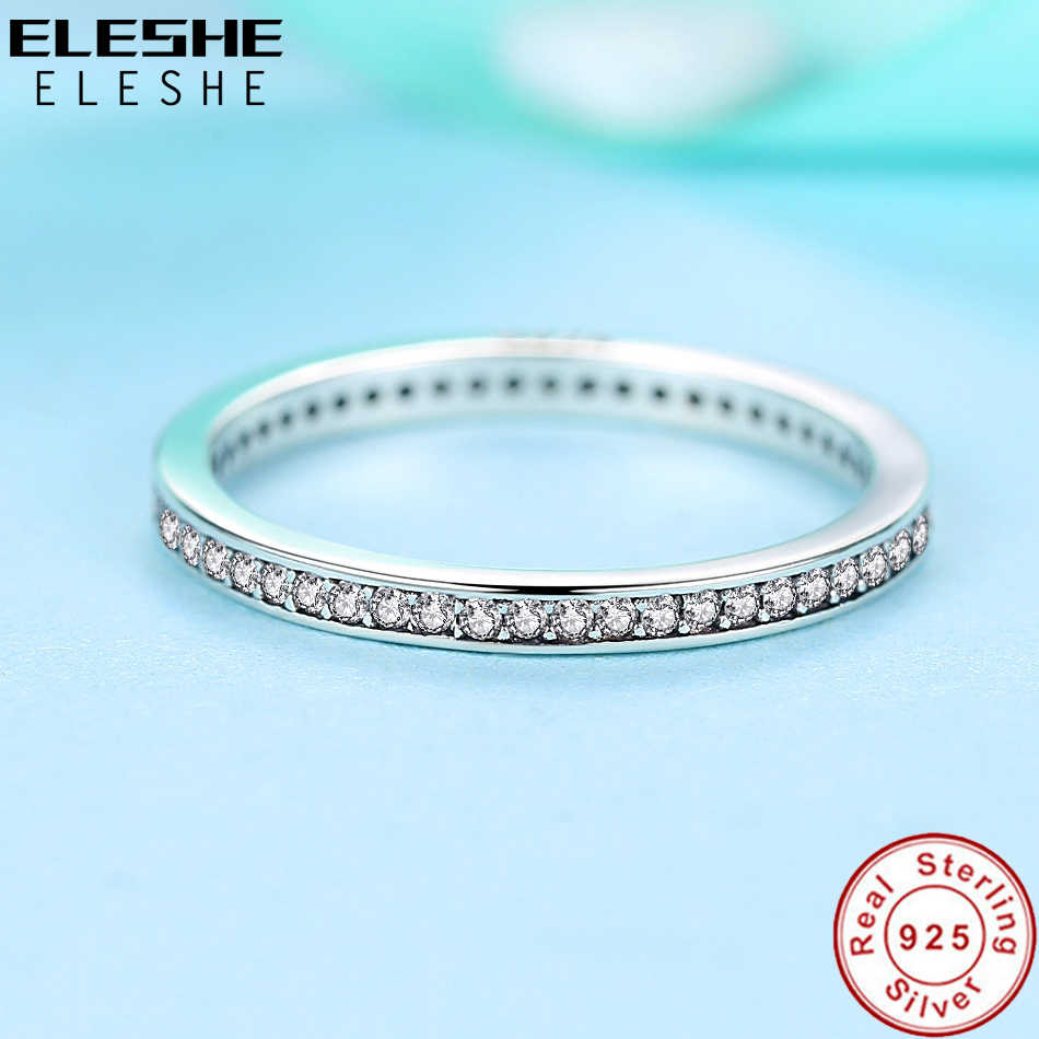 ELESHE ของแท้ 925 เงินสเตอร์ลิง CZ STACKABLE นิ้วมือแหวนสำหรับเครื่องประดับหมั้นผู้หญิงเครื่องประดับคริสต์มาสของขวัญ