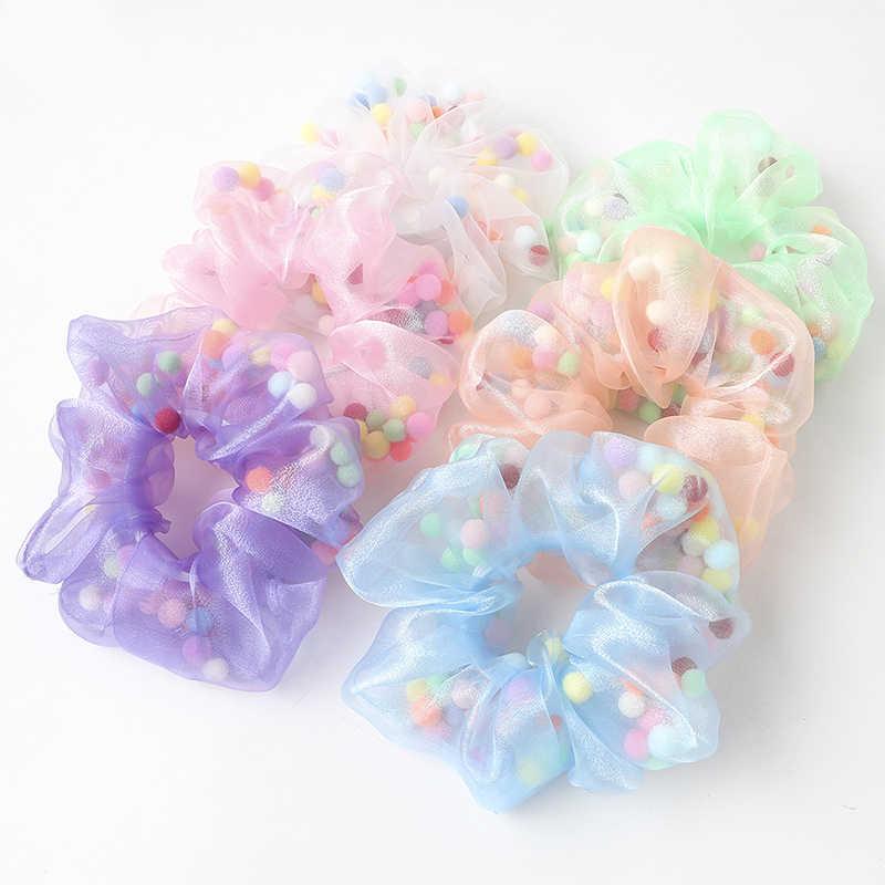 Gauze Mesh Hair Ring Rope Daisy Floral Elastic Girls Scrunchies Ponytail Holders
