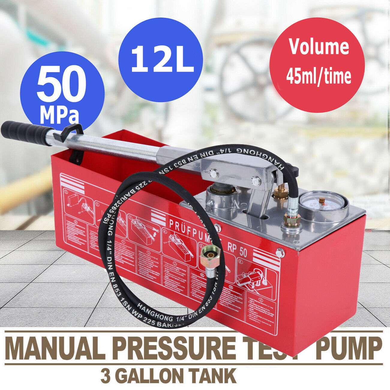12L Hydraulic Pressure Test Water Pipe Line Leakage Tester Pump Hand Powered