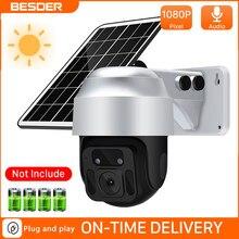 BESDER 4G karta SIM 1080P kamera IP WIFI na zewnątrz 8W Panel słoneczny 12000mAh kamera ochrony baterii PTZ CCTV inteligentne bezpieczeństwo Monitor