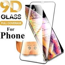Cobertura completa protetor de tela para iphone x xs max 11 pro max vidro temperado para iphone 6s 7 8 plus 9d cobertura toda a cola