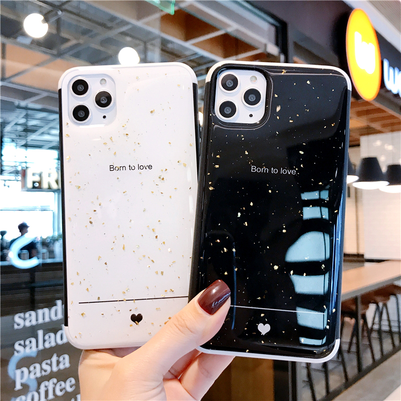 Cartoon Bling Powder Sequins Black White Heart Anti Fall Silicone Phone Cases For Iphone XR 11 Pro XS Max 7 8 6S Plus Back Cover