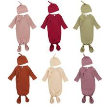 Newborn Baby Cotton Sleeping Bag 2Pcs Set Ribbed Cloth Toddler Infant Solid Long Sleeve Swaddle Blanket Wrap with Cap Bedding(China)