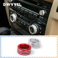 Red silver air conditioner volume knob decorative ring for bmw e90 fan button audio stereo volume control knob ring cover kit