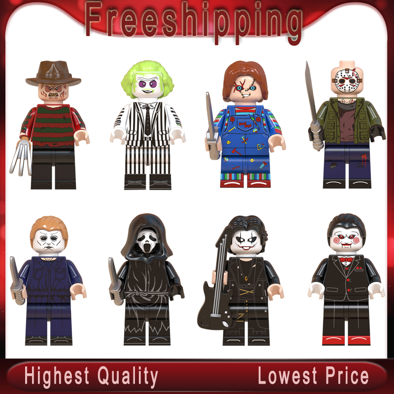 Horror Halloween Legoed Jack Skellington Zombie Freddy Michael Myers Minnie Eric Draven Building Blocks Toys Child Gift WM6075