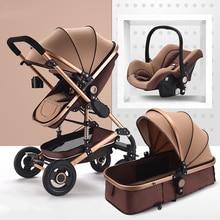 High Landscape Baby Stroller 3 in 1 Luxury Hot Mom Stroller Travel Pram Reversible Baby Trolley Pink Stroller with Car Seat стоимость