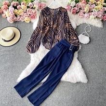2 częściowe zestawy damskie pasek dekolt w serek paski zebry bubble z długim rękawem top szyfonowy na co dzień wysokiej talii spodnie szerokie nogawki dwuczęściowy garnitur trend