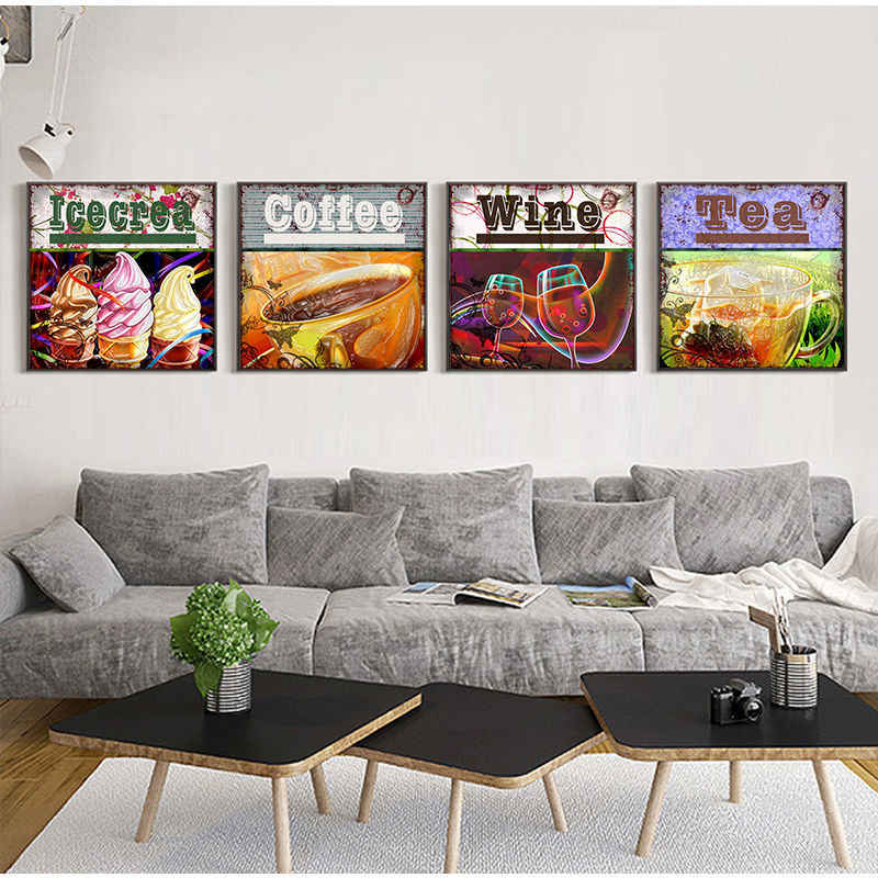 Nordic Enjoy Your Life Coffee and Tea Canvas Paintings Wall Art Pictures Home Decor Poster Dining Room Wine and Ice Cream Prints