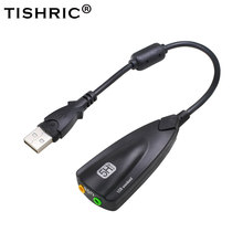 TISHRIC nowy 5HV2 7.1 zewnętrzna karta dźwiękowa USB 3.5mm interfejs Adapter Audio karty z Microphne zestaw słuchawkowy z głośnikiem dla Mac laptopa
