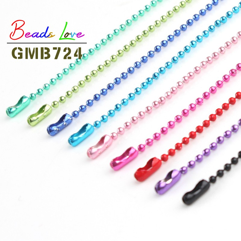 10pcs/lot 1.5MM Ball Bead Chains Fits Key Chain/Dolls/Label Hand Tag Connector For DIY Necklace Jewelry Making Findings 60cm