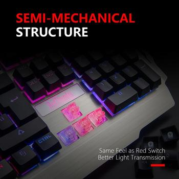 RedThunder K900 RGB Gaming Keyboard and Mouse, Sim-Mechanical Metal Cover, 6400DPI 7 Programmable Button for PC  RU ES FR 3