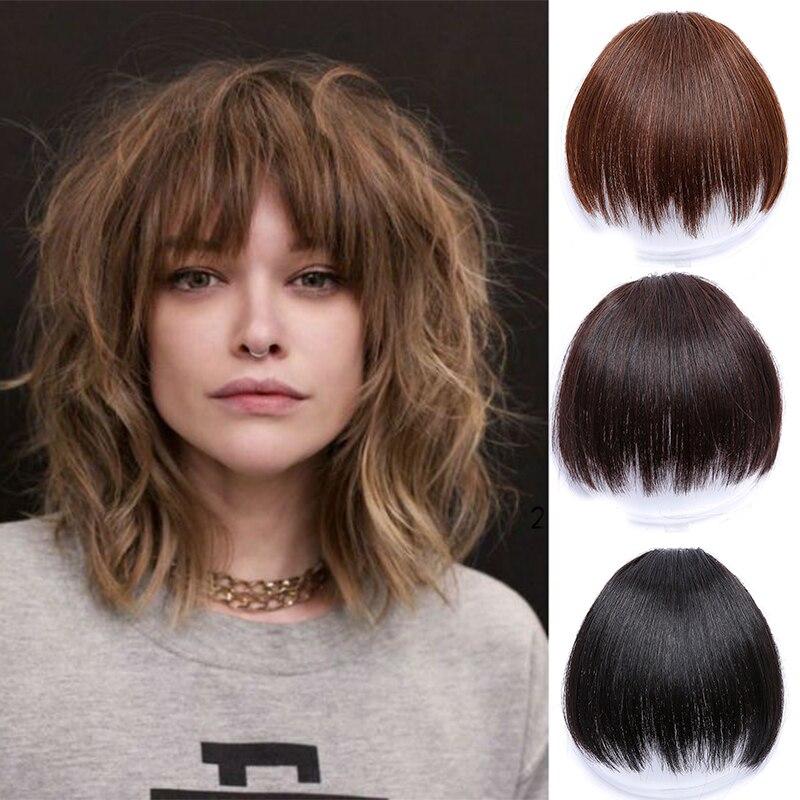 6 дюймов короткие поддельные челки для волос термостойкие синтетические накладные волосы на клипсах для женщин челка