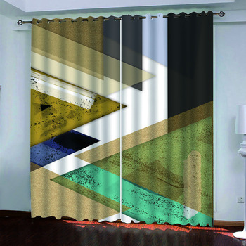 custom European style photo curtains 3d stereo geometric blackout curtains For living room bedroom modern fashion curtains