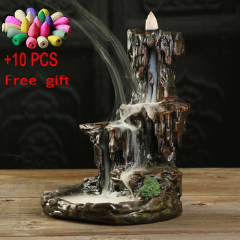 10 Incense Cones Mountains River Waterfall Incense Burner Fountain Backflow Aroma Smoke Censer Holder Office Home Unique Crafts ceramic small buddha backflow incense burner little monk smoke waterfall aromatherapy censer river handicraft incense holder