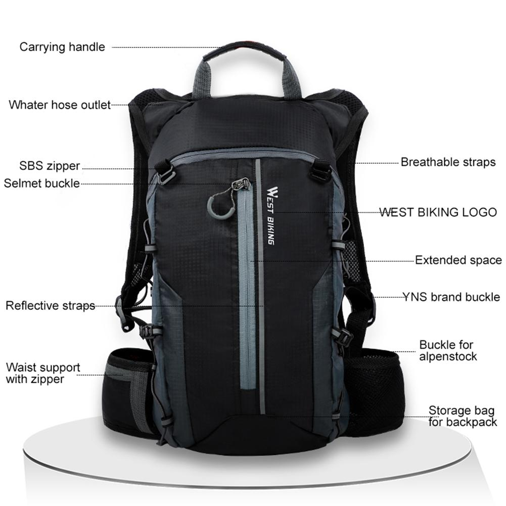 WEST BIKING Waterproof Bicycle Bag Portable Ultralight Sport Backpack 10L Outdoor Hiking Climbing Pouch Cycling Bicycle Backpack