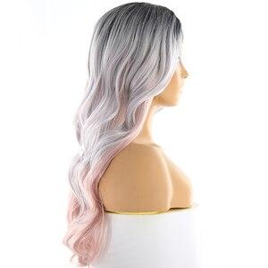 Image 4 - Perruque synthétique avec raie latérale, perruque avec frange, perruque avec dentelle profonde Invisible longue ondulée couleur rose platine ombré X TRESS pour femmes