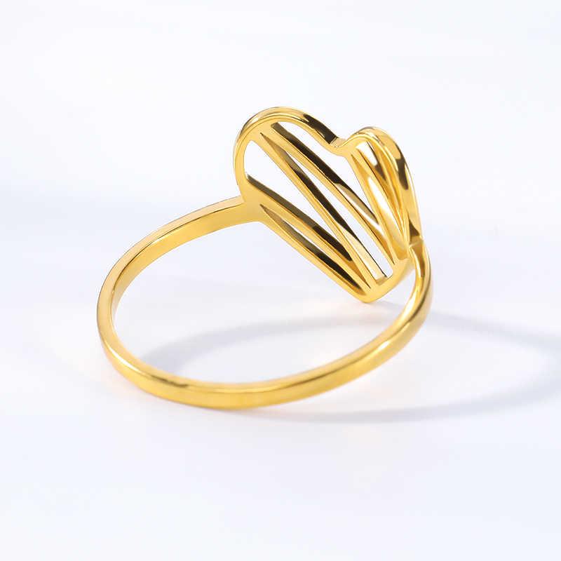 פתוח לב Anillos עלה זהב זגזג אהבת לב טבעות לנשים תכשיטים נירוסטה עכשווי טבעת אירוסין מתנה