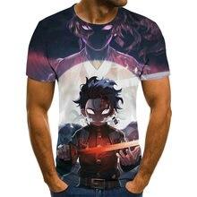 2021 kimetsu sem yaiba tema camiseta masculina anime harajuku topos verão moda camiseta masculina 3d menino roupas plus size streetwear