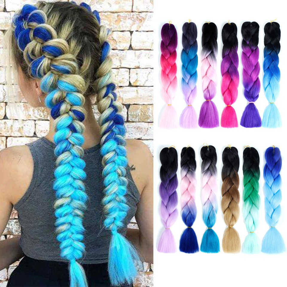 BUQI Women 24inch Crochet Braids Box Braids 100g/pc Ombre Jumbo Braids Synthetic Braiding Hair Extensions