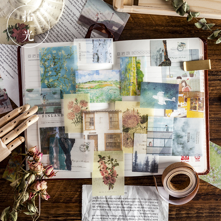 Van Gogh stars Bullet Journal Decorative Stickers set Scrapbooking Stick Label Diary Stationery Album Vintage flower Stickers in Stickers from Home Garden