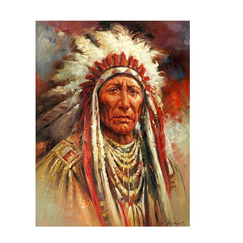 Indien natif plume Portrait peinture à l'huile sur toile affiches et impressions scandinave mur Art photo pour salon