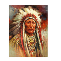 Native Indian Feather Portrait Oil Painting on Canvas Posters and Prints Scandinavian Wall Art Picture for Living Room
