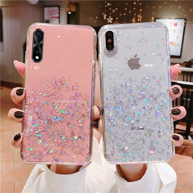 For Vivo Y55 Y66 Y67 Y83 Y75 Y79 Y85 Y91 V15 Z1 S1 Pro Y53 V17 Iqoo Neo Y17 2019 Y7S Z5X Y53 Y71 Clear Glitter Starry Phone Case
