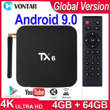 TV Box TX6, Android 9,0, dispositivo de TV inteligente, 4GB de RAM, 64GB, Allwinner H6, Quad Core, USB 3,0, wi fi 2,4 Ghz/5Ghz, 4K, Tanix TX6