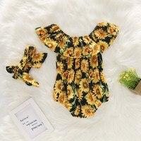 Newborn Baby Girls Flower Romper chrysanthemum Jumpsuit Sunsuit +Headband Outfits Set Clothes Baby Sleeveless Clothing 0 2Y