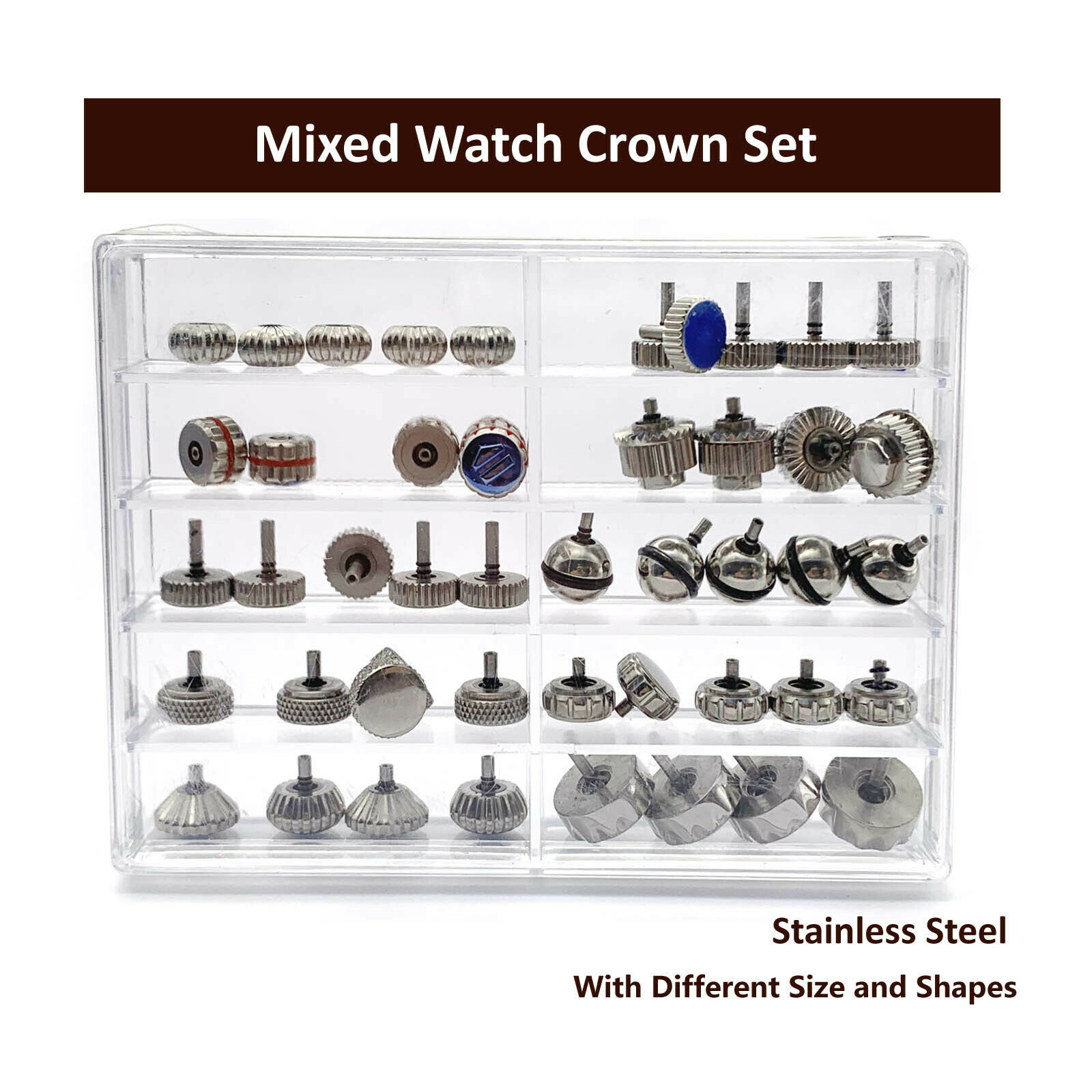 Waterproof Pumpkin Shape Watch Crown Parts Replacement Assorted Watch Repair Kit