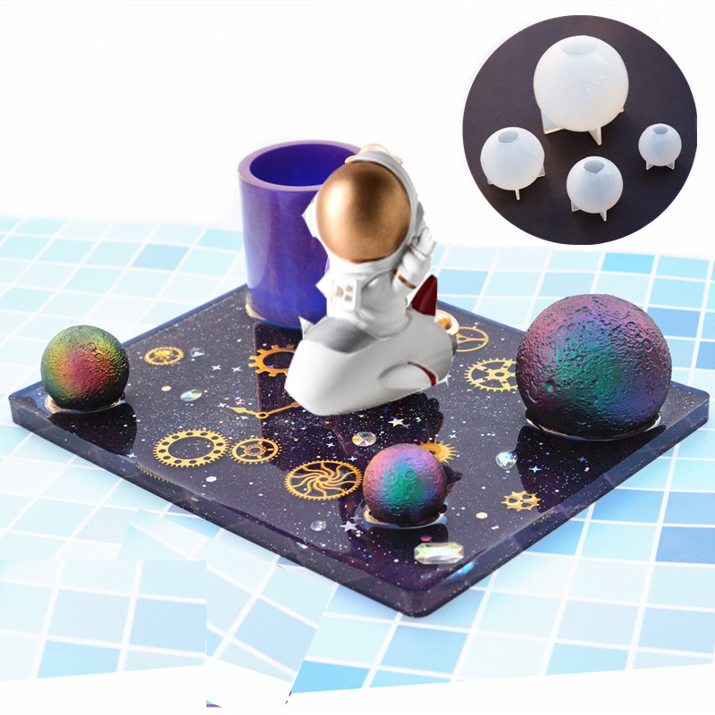 Planet Moonlight Night Light Mold Mobile Phone Holder Table Mold UV Crystal Epoxy Diy Silicone Moon Ball Shaped Resin Mold