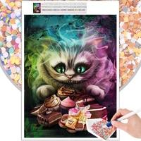 Pintura de diamante 5D DIY, mosaico con dibujo de gato de Cheshire, bordado de punto de cruz, Kit de arte, pasatiempo, regalo, Diamante de imitación cuadrado redondo para el hogar