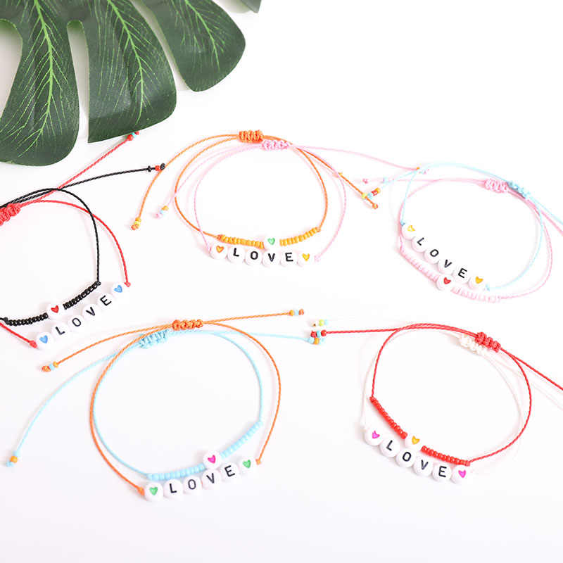 G.YCX Colorful Beads LOVE Heart Letter Bracelet Miyuki Jewelry  Couple Lucky String Rope Bracelets Kids Family Friendship Gifts