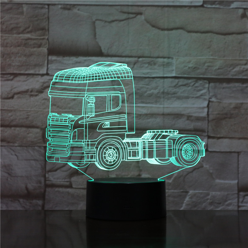 Truck 3D Table Lamps For Living Room Stereo Vision Touch Remote Control Nightlight Acrylic USB 3D Small Table Lamp 1840