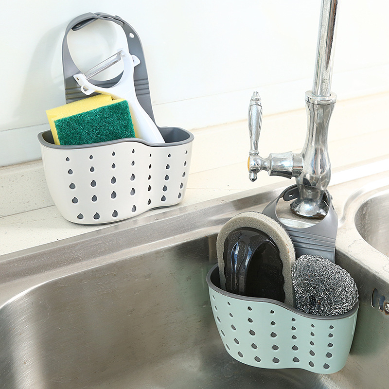 Kitchen Hanging Sink Drain Basket Soap Sponge Cleaning Brush Toothbrush Holder Bag Kitchen Bathroom Storage Organizer Container