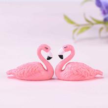 Flamingo figurka zabawka dekoracja wnętrz Terrarium z mchem Succelent domek dla lalek akcesoria rzemiosło prezent miniaturowy bajkowy ogród akcesoria tanie tanio Zwierząt as picture show Miniature Fairy Garden Decor