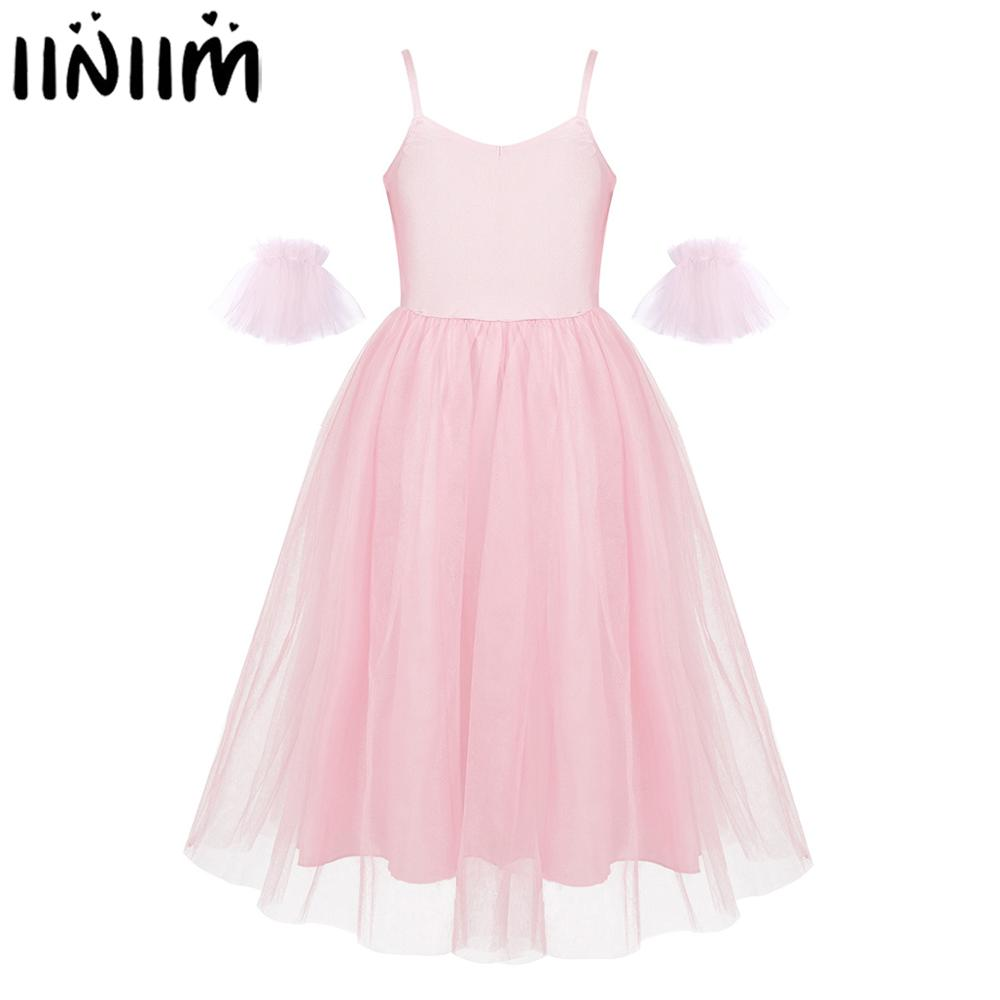 Kids Girls Ballerina Ballet Competition Romantic Style Ballet Dance Costumes Mesh Long Tutu Dress With Ruffled Arm Sleeves