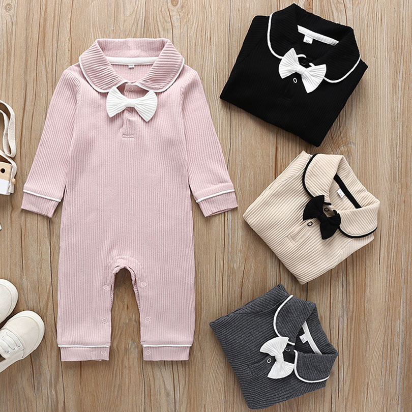 Fashion Baby Onesies Girls Solid Color Long Sleeve Bow Doll Collar Baby Jumpsuit Spring Autumn Infant Girls Cotton Warm   Romper