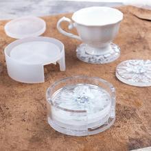 9cm okrągły kwadrat Coaster silikonowe formy DIY żywica epoksydowa Coaster schowek żywica formy ręcznie kryształowe podstawki odlewania formy tanie tanio SEVENWELL Other SILICONE linki do biżuterii