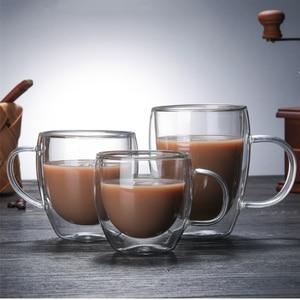 Image 1 - Podwójna ściana szklany kubek odporne na herbaty kufel do piwa mleka sok z cytryny kubek Drinkware filiżanki do kawy kubek na prezent