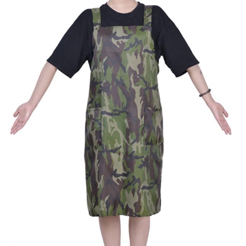 Ev ve Bahçe'ten Önlükler'de Su geçirmez kamuflaj önlük kuaför kıyafeti çalışma üniforması Cafe önlük Anti toz saç önlük açık bez title=