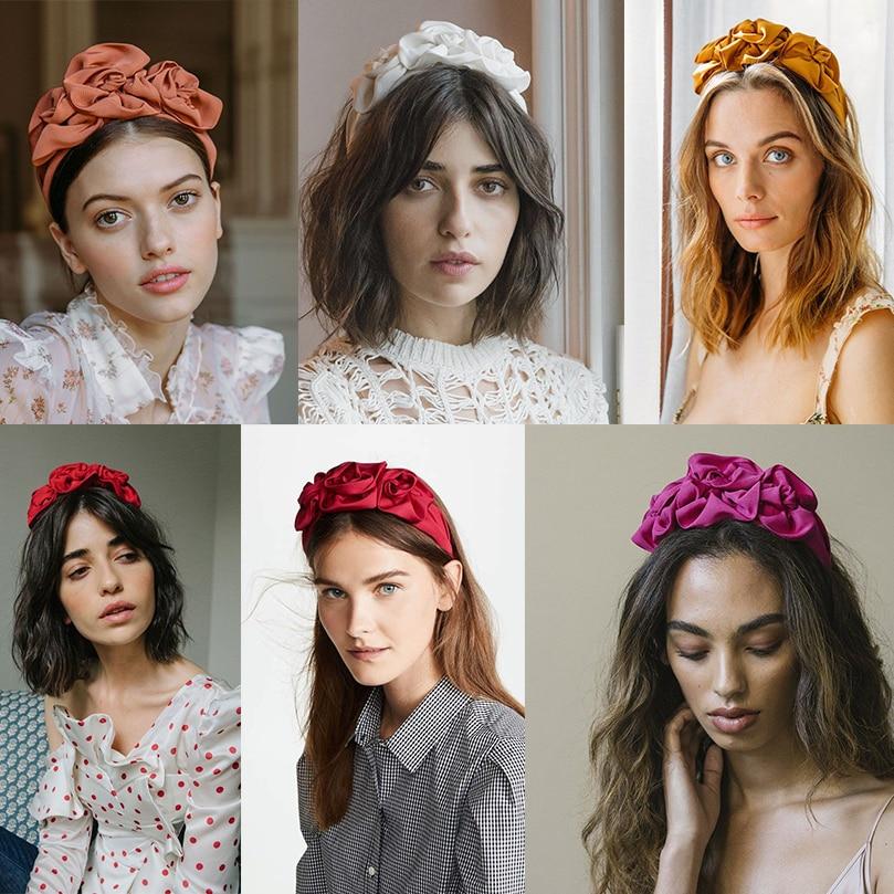 AWAYTR New Flower Fabric Headband Women Floral Bud Decoration Hairband Ladies Retro Hair Loop Female Headwear Hair Accessories
