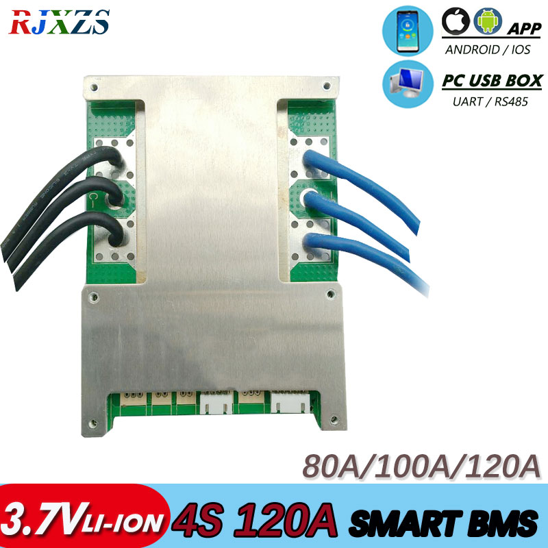 smart bms  4S 60a/80A/100a/120a 16.8V bms bluetooth Li ion smart bms pcm with  UART bms wi software (PC) monitor-in Integrated Circuits from Electronic Components & Supplies