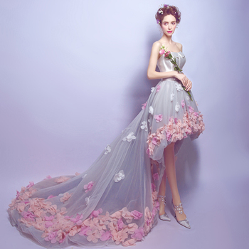 2019 High Low  Prom Dresses 3D Flowers Appliques Princess dress Backless Evening Gowns Short Front Long Back robe de soiree 1