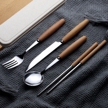 2/3/4Pcs/Set Portable Wooden Handle Dinnerware Set Stainless Steel Plated Silver Knife Fork Tableware Cutlery with Plastic Box