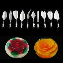 11Pcs/Set 10 Styles 3D Jelly Flower Art Cake Tools Gelatin Pudding Nozzle Syringe Russia Set Stainless Steel
