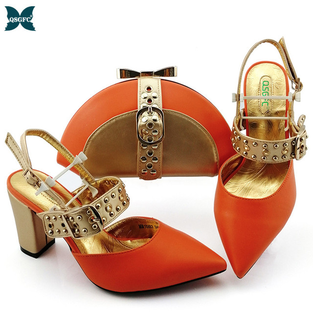 2020 NEW Shoes woman platform for African Ladies Italian design Shoes and Bag Set Decorated with Rhineston Metal Decoration