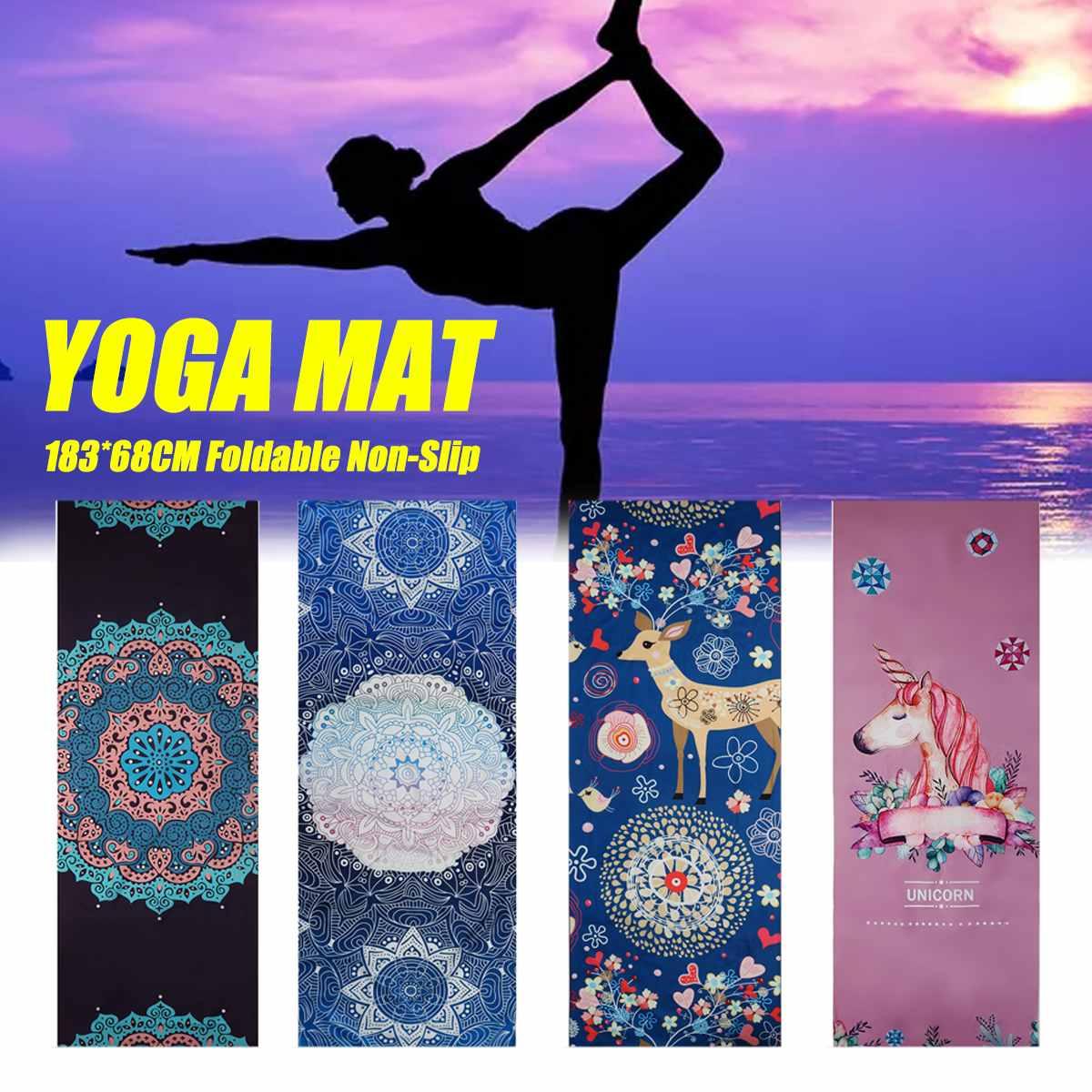 68*183cm estera de Yoga antideslizante Toalla de microfibra Fitness gimnasio ejercicio Fitness Pilates entrenamiento Manta